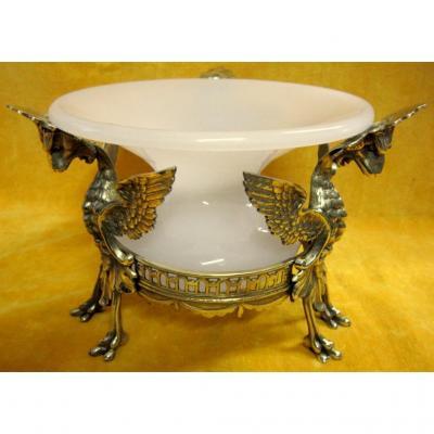 Centre De Table Jardiniére Opaline Griffon Dragon Bronze Doré St Renaissance Napoléon III 19éme