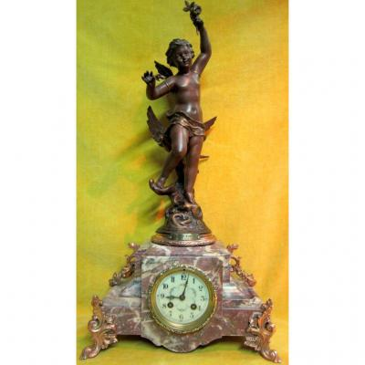 Pendulum '' 1900 '' Allegory Of The Spring Cherub '' Sunny Days '' By E.rancoulet (1842-1915?)
