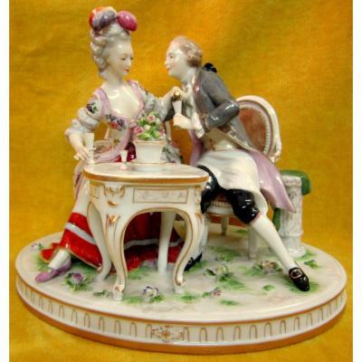 Porcelaine Scène Galante Style XVIIIéme Goût De Saxe Meissen