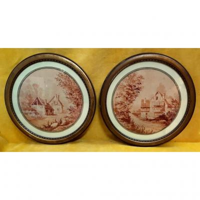 """Pair Sepia Watercolors Framed Farm View In The Countryside 18 Th 19th """""""