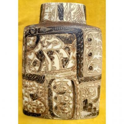 Scandinavian Ceramic Bouquetiere Bottle Vase `` Baca '' 1964 From Nils Thorsson (1898-1977)