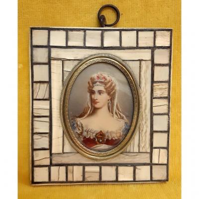Miniature Portrait Mc De Bourbon -siciles Duchesse De Berry After R.lefevre (1755-1830)