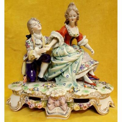 Porcelaine Saxe ou Meissen Scène Galante Style XVIIIéme