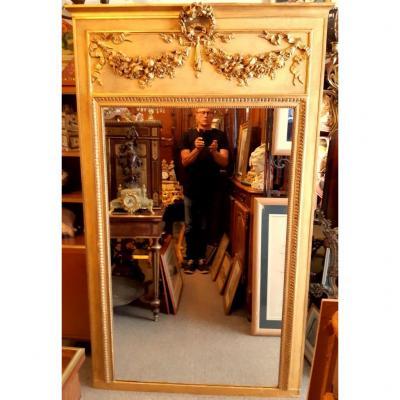 Trumeau Grande Glace Miroir à Fronton St Lxvi Doré Napoléon III 19éme.