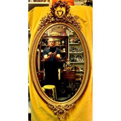 Large Beveled Oval Ice Mirror Stuccoed Wood Gilded Napoleon III St Lxvi 19th
