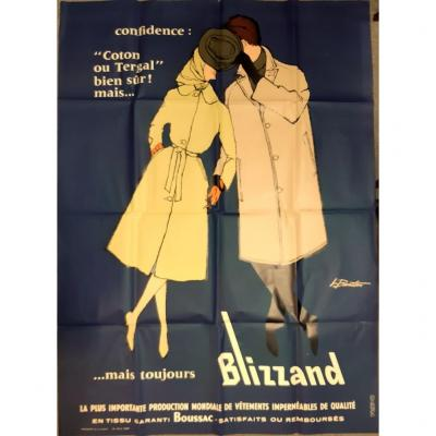 Poster Advertising 1960 Textile Blizzand Boussac Drawing L.barton