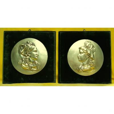 Pair Of Large Medallion Plaque Alsace And Lorraine Gilt Bronze After The Annexation Of 1871