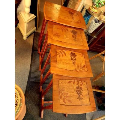 Saddles Nesting Tables Ecole De Nancy Art Nouveau Marquetry 1900