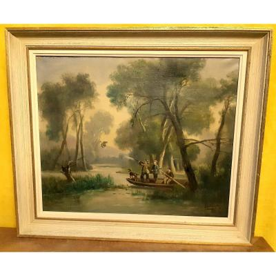 The Duck Hunting In A Boat Painted By The Painter Valmont Early 20th
