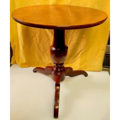 Small Round Pedestal Tripod Walnut Louis Philippe 19th