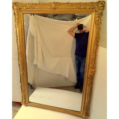 Grande Glace Miroir Cadre Ondulé Trumeau St Lxv Napoléon III 19éme
