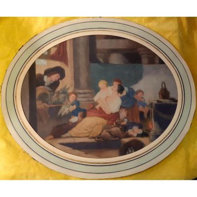 Estampe Gravure Litho Maternité Amour Mère Enfants St J.B.HUET 18éme
