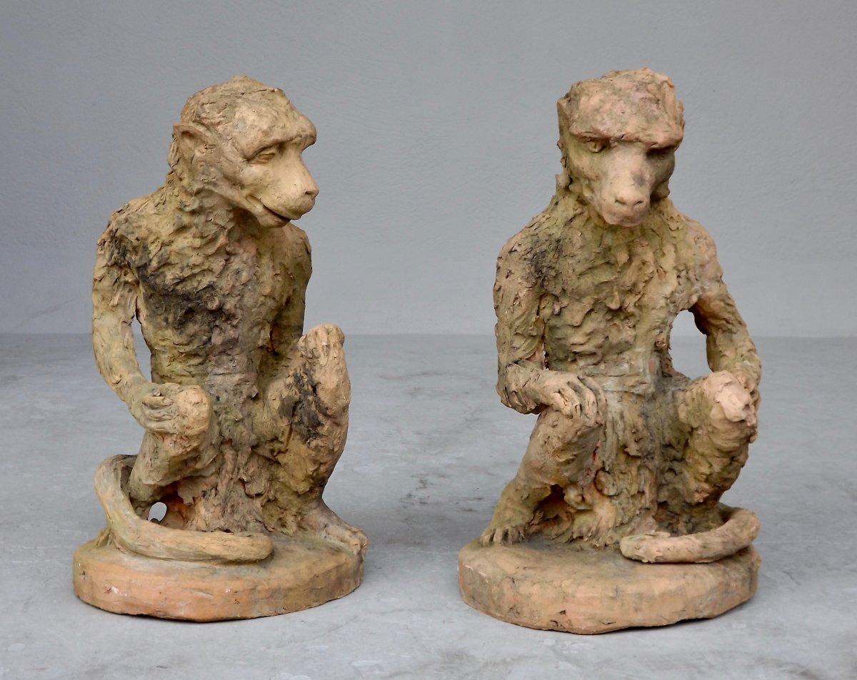 Pair Of Terracotta Monkeys Nineteenth