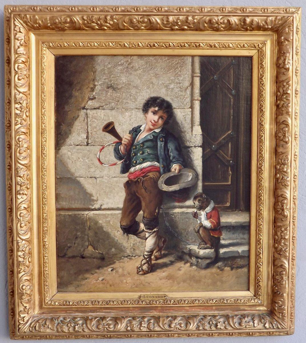 """Agathon Léonard (1841-1923) """"Jeune saltimbanque et son singe"""""""