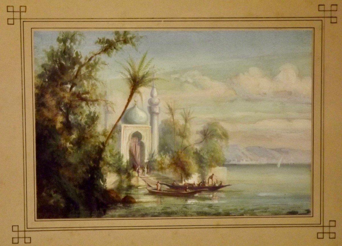 Embarquement sur les bords du Nil école orientaliste XIXe-photo-3