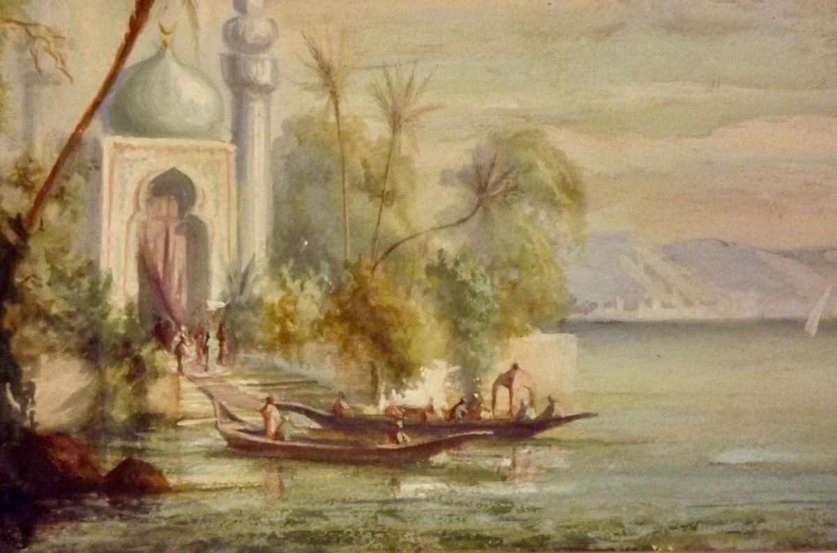 Embarquement sur les bords du Nil école orientaliste XIXe-photo-1