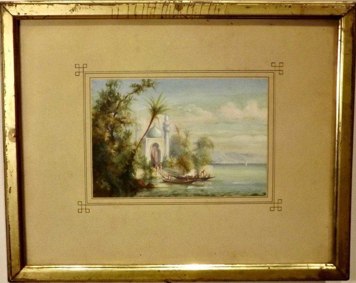 Embarquement sur les bords du Nil école orientaliste XIXe
