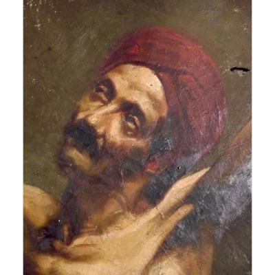 Oil On Canevas Early Nineteenth Arab Christian