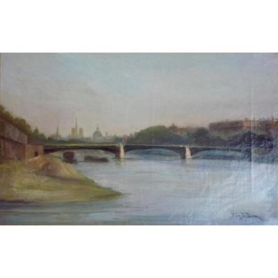 Huile sur toile ''vue de Paris''