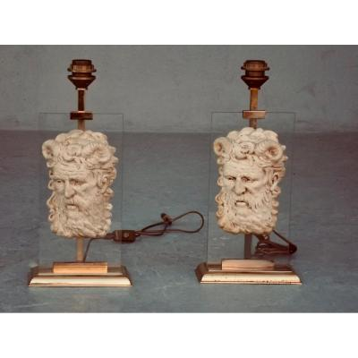 Pair Of Lamps Decorated With A Man's Head