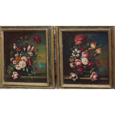 Pair Of Still Lifes With Flowers