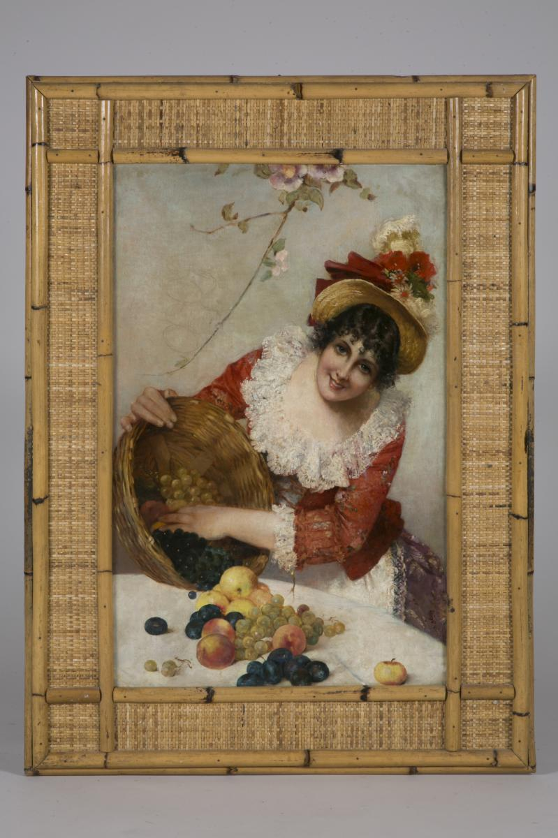 Portrait Of A Young Italian With A Basket Of Fruits