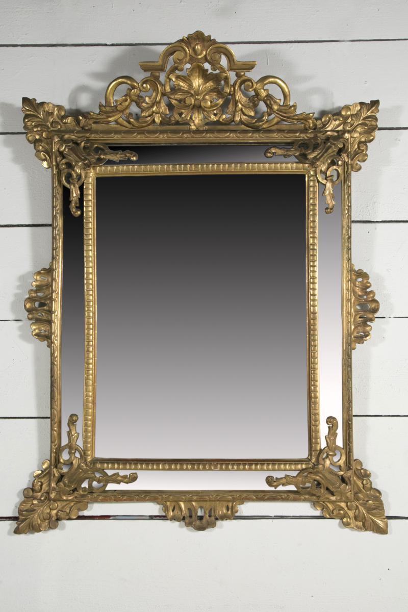Grand Miroir à Parecloses En Bois Doré XIX ème H.150