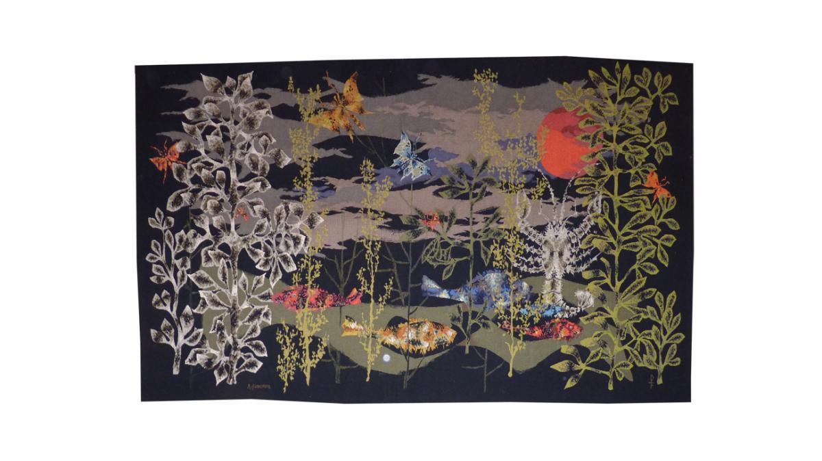 René Fumeron-poissons De La Lune-tapisserie d'Aubusson