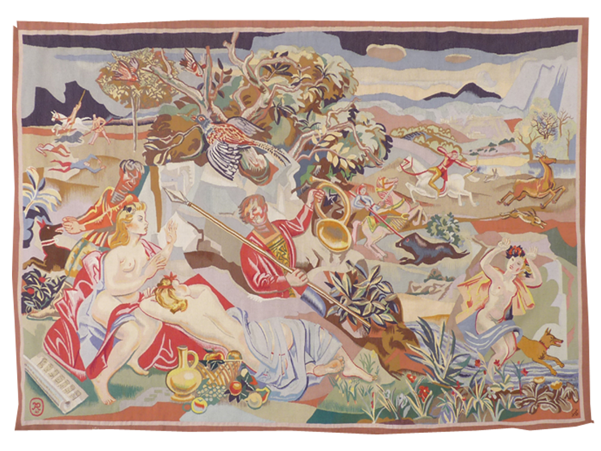 André Planson- Nymphs And Hunters- Aubusson Tapestry