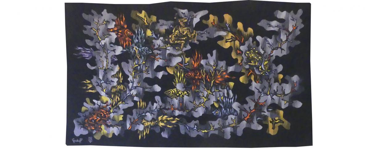 Elie Grekoff - Poissons Et Grenouilles - Tapisserie d'Aubusson