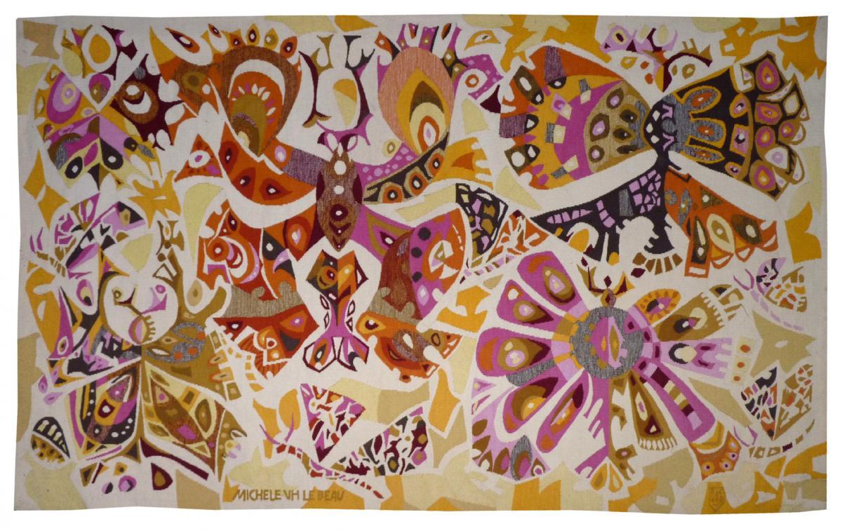 Michèle Van Hout Le Beau- Papillons De Cocagne- Tapisserie d'Aubusson