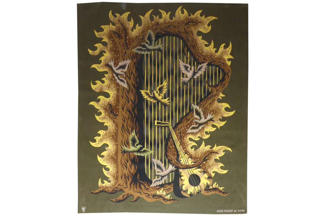 Jean Picart The Sweet - The Forest Harp - Aubusson Tapestry