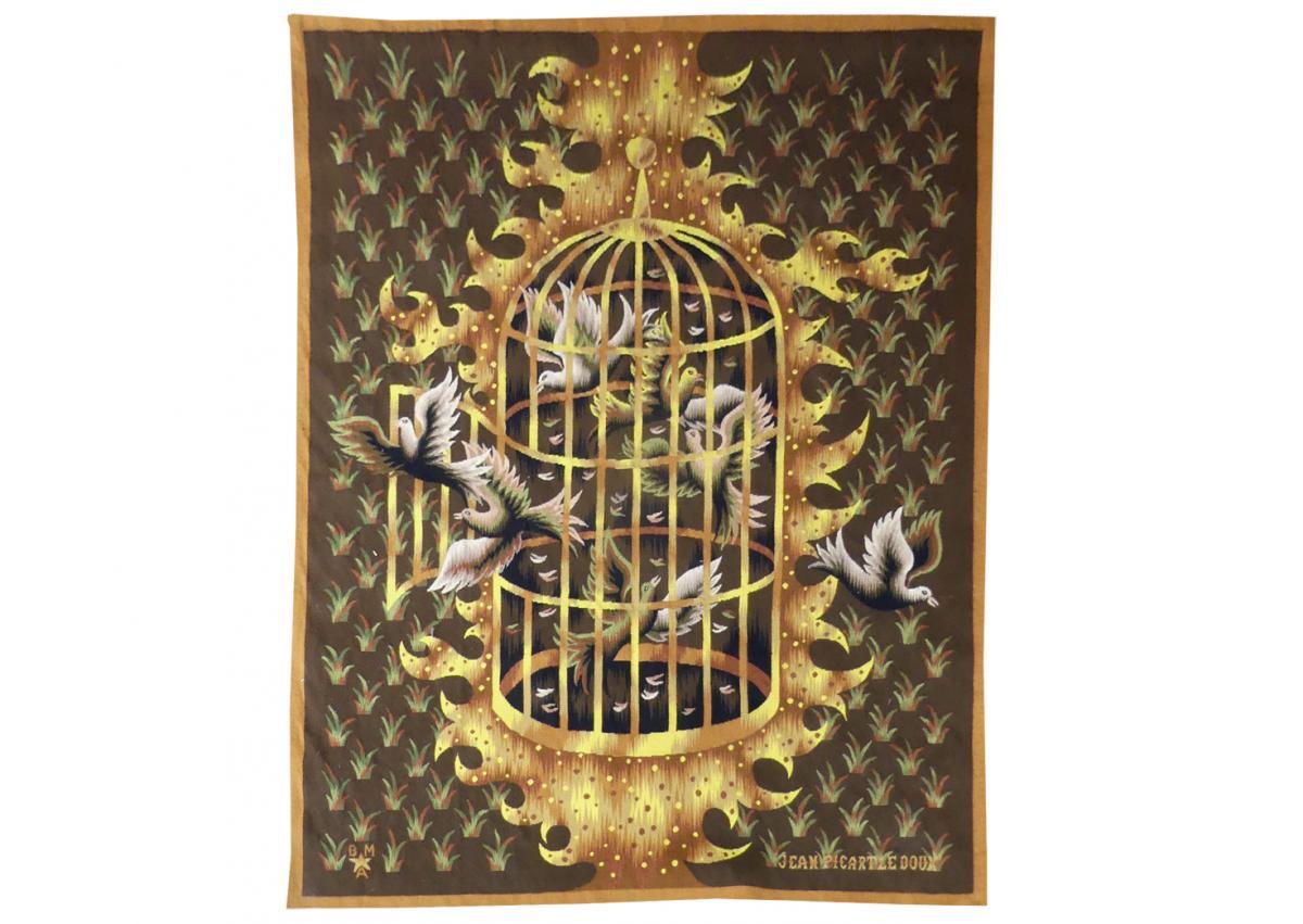 Jean Picart Le Doux - La Cage Ouverte- Tapisserie d'Aubusson