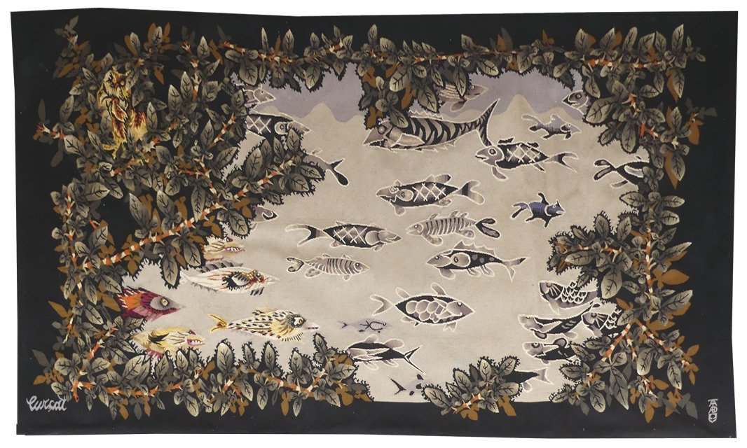 Jean Lurçat- l'étang-tapisserie d'Aubusson
