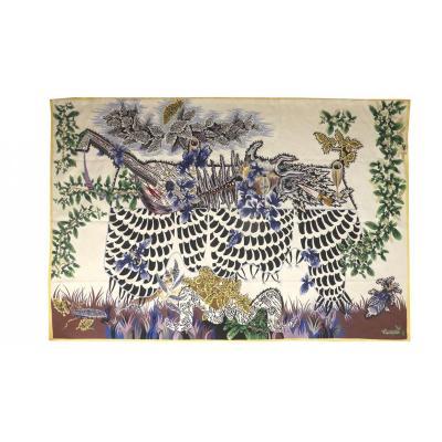 Jean Lurçat- Nappe Blanche-tapisserie d'Aubusson