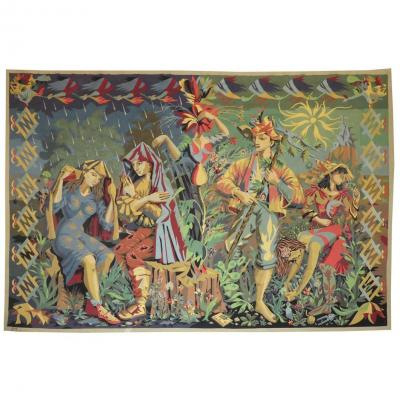 Lucien Coutaud-the Rain And The Beautiful Time- Aubusson Tapestry