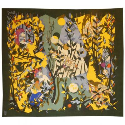 Elie Grekoff - The Little Oiseleur - Aubusson Tapestry