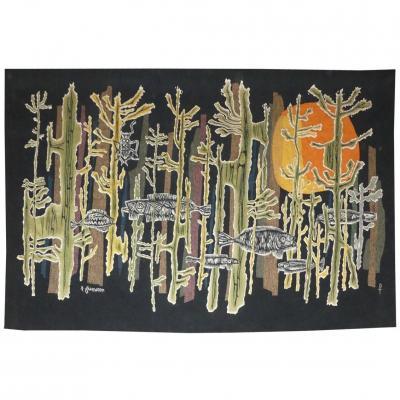 René Fumeron- Soleil De Corail -tapisserie d'Aubusson