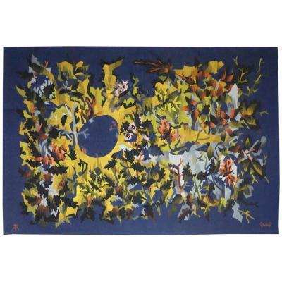 Elie Grekoff- Paysage Bleu Aux Papillons-tapisserie d'Aubusson