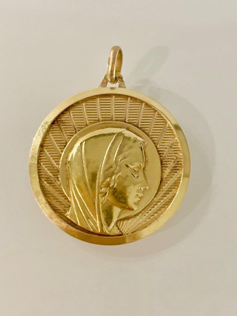 Importante Médaille Religieuse Au Profil De La Vierge