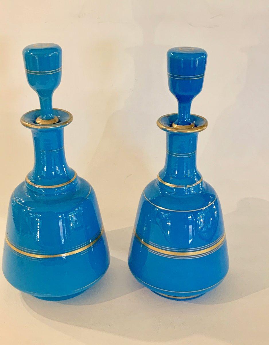 Pair Of Blue Flag Opaline Bottles