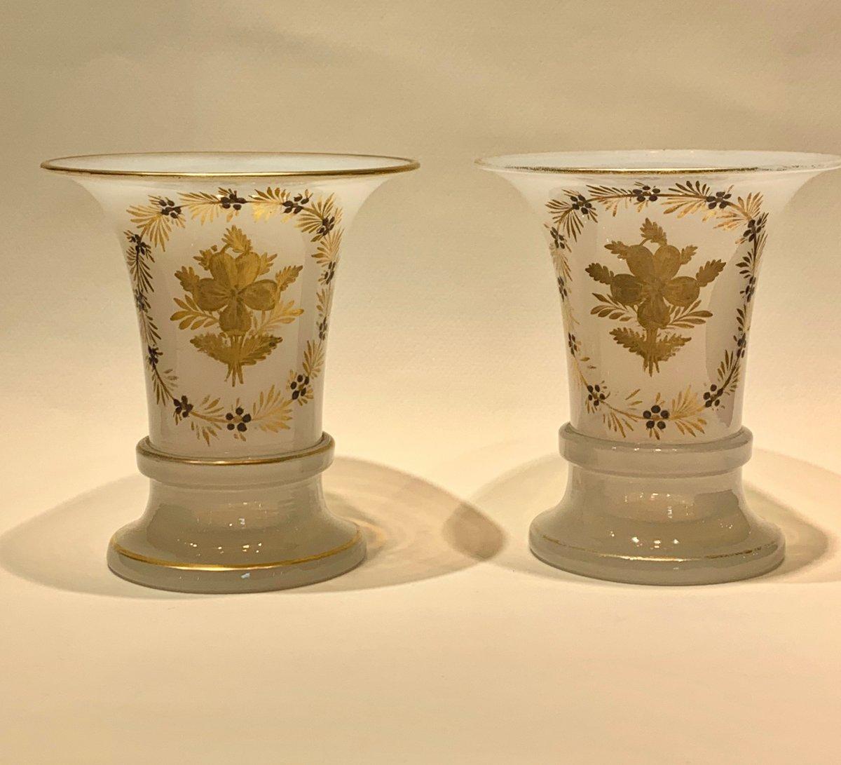 """Paire De Vases En Opaline """"bulle de savon""""."""
