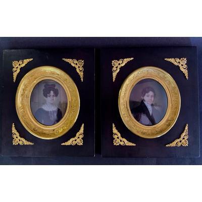 Paire De Miniatures d'époque Restauration