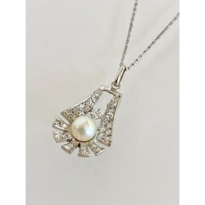 Pendentif En Platine Diamants Et Perles