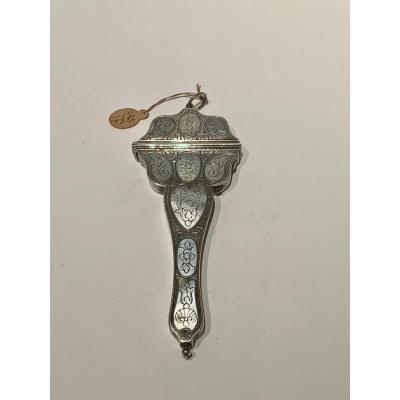 Scissor Case In Silver Mother Of Pearl Louis XV