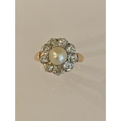 Bague Marguerite Diamants Et Perle