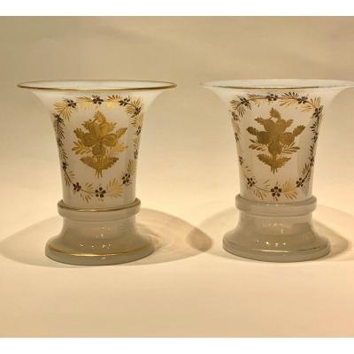 """Pair Of Opaline Vases """"soap Bubble""""."""