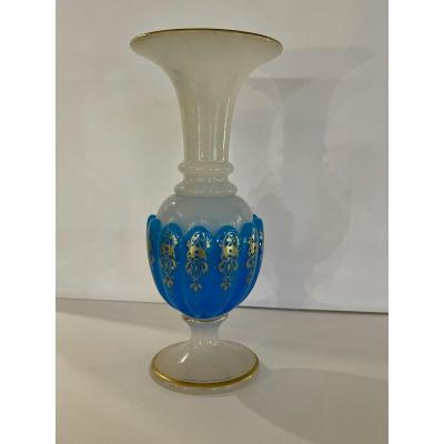 St Louis, White And Blue Opaline Vase