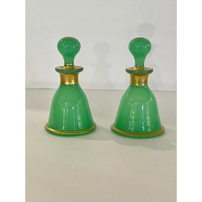 Baccarat: Pair Of Small Green Opaline Bottles