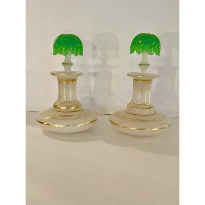 St Louis: Pair Of Two-tone Opaline Flasks